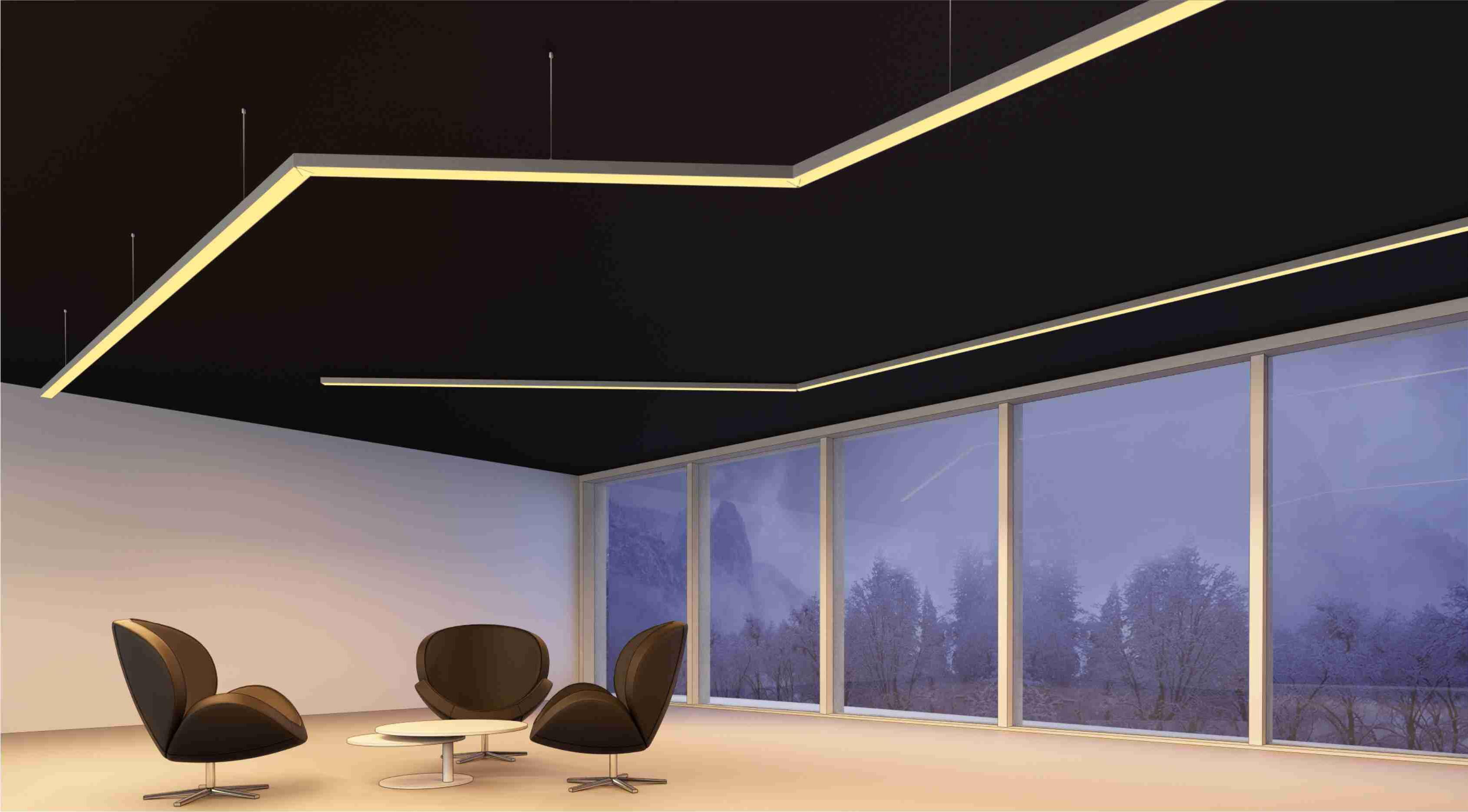 Iluminaci n de sala con perfiles suspendidos y tira de leds - Iluminacion tiras led ...